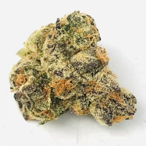 bud of pie crust strain by grow west on stark white background
