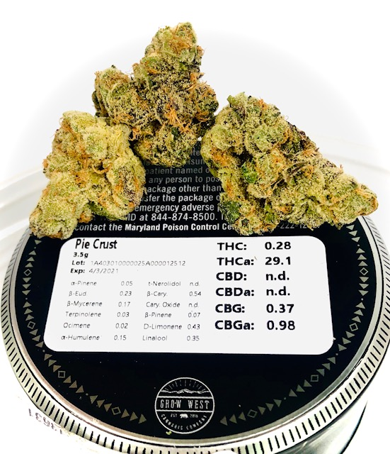 terpene and thc potency label with pie crust strain