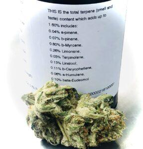 grandpas stash terpene label with bud in foredground