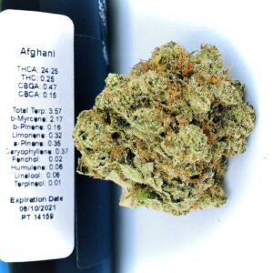 hms afghani bud next to terp label