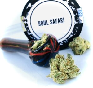 soul safari buds with glass bowl and culta label on top of container in background