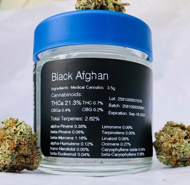 terpene label for black afghan with three buds